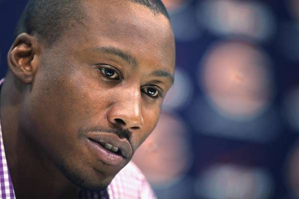 Brandon Marshall speaks to the media on Sept.