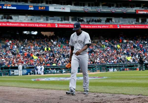New York Yankees pitcher Luis Severino walks