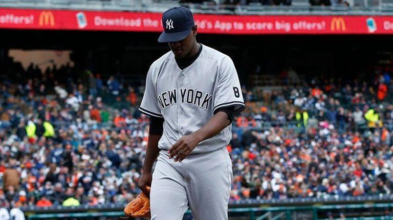 New York Yankees pitcher Luis Severino walks