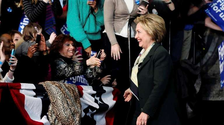 Democratic presidential candidate Hillary Clinton arrives for a