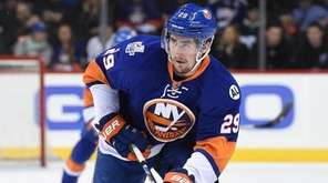 New York Islanders center Brock Nelson skates with