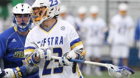Hofstra's Dylan Alderman (23) looks to get by