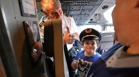 Brooklyn resident Jack Guariglia, 8, wearing a pilot's