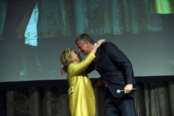 Mayor Bill de Blasio and presidential contender Hillary