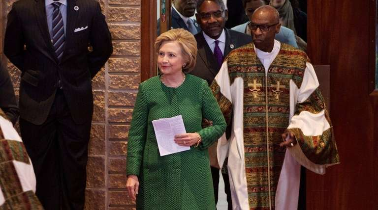 Democratic presidential candidate Hillary Clinton arrives to speak