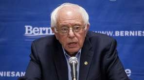 Sanders holds a news conference after a campaign