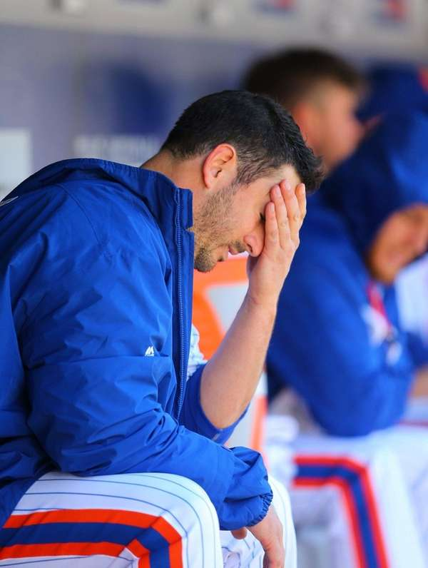 Matt Harvey of the New York Mets reacts