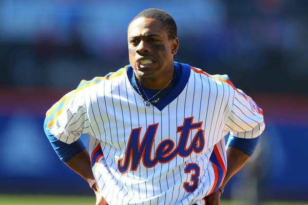 Curtis Granderson of the New York Mets reacts