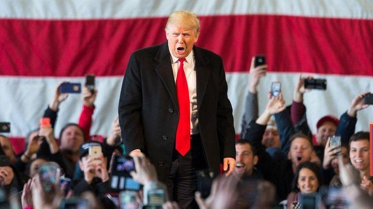 Republican presidential candidate Donald Trump speaks in