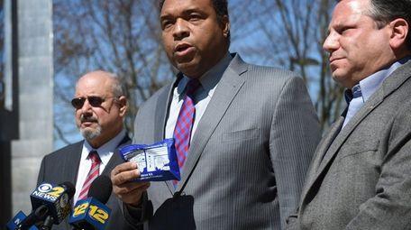 Suffolk Legis. William Spencer (D-Centerport) holds a heroin
