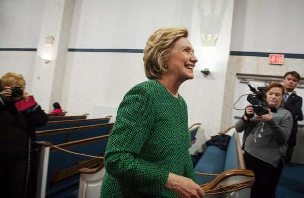 Democratic presidential candidate Hillary Clinton exits after speaking