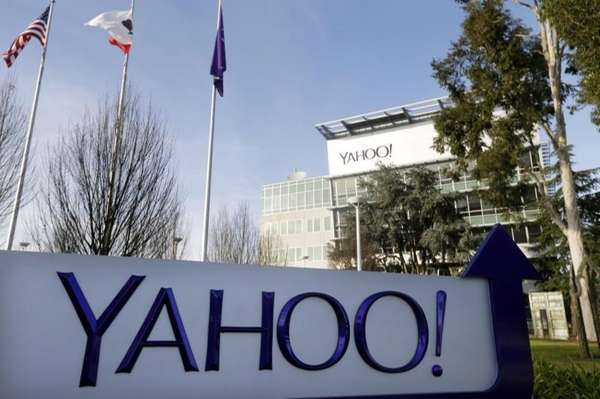 A sign outside Yahoo's headquarters in Sunnyvale, Calif.,