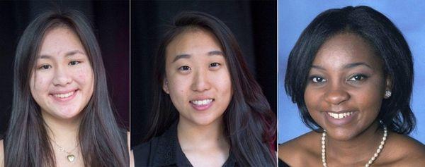 Manhasset High School seniors Kimberly Te, left, and