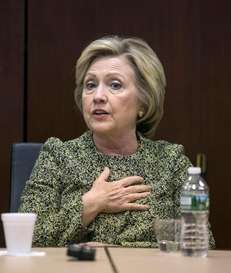 Democratic presidential candidate Hillary Clinton on April 11,