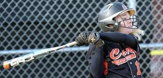 Carey's Brianna Pinto hits a two-run single during