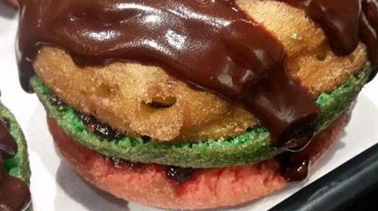 The tricolor rainbow doughnut, topped with a rainbow