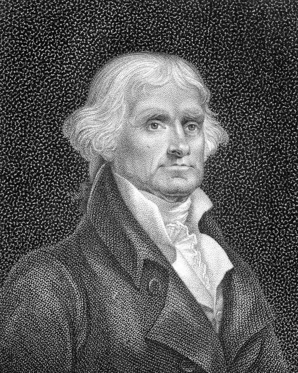 Thomas Jefferson as depicted in an engraving from