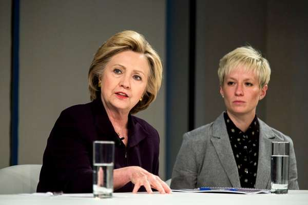 Hillary Clinton, left, with Megan Rapinoe, of the