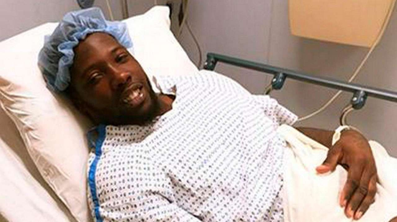 Jason Pierre-Paul is shown before having surgery on