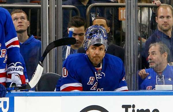 Henrik Lundqvist of the New York Rangers sits