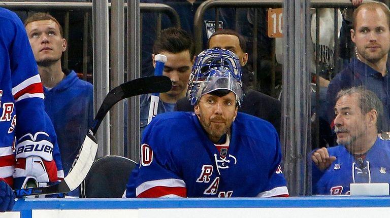 Henrik Lundqvist of the New York Rangers sits