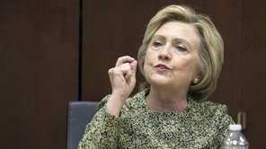 Democratic presidential candidate Hillary Clinton meets with the