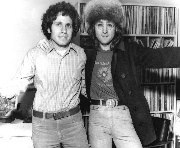 Dennis Elsas, left, with John Lennon in the
