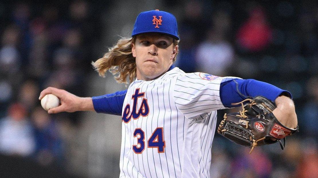 New York Mets starting pitcher Noah Syndergaard struck