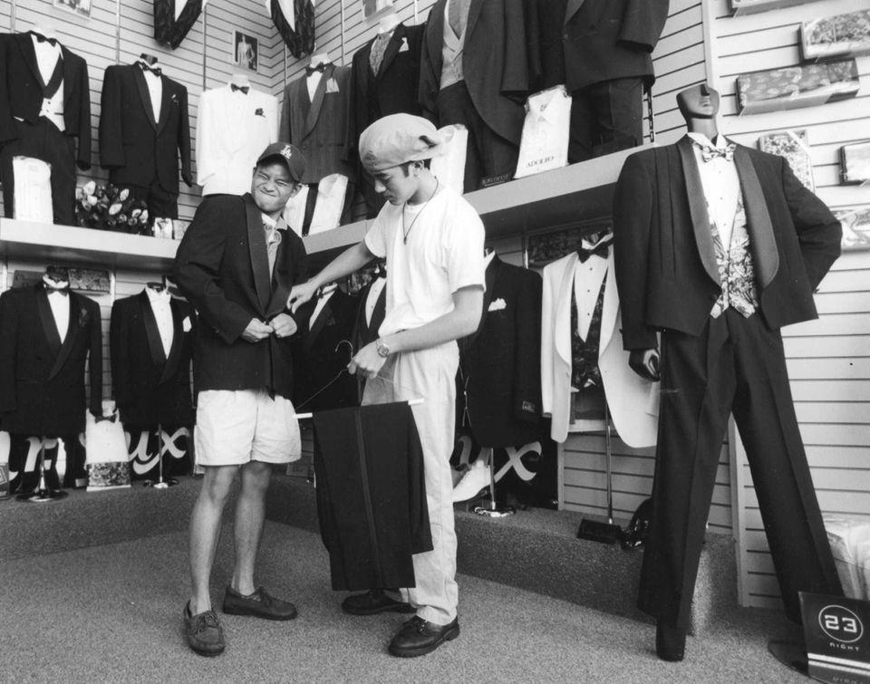 Joe Feliciano tries on his prom tuxedo with