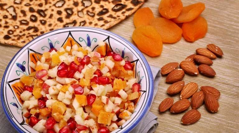 Haroset made from pomegranate seeds, almonds, apples and