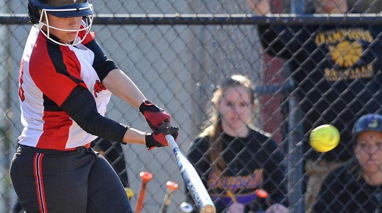 Sabrina Burrus #40, Mount Sinai catcher, drills a