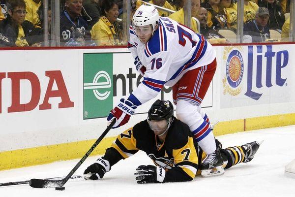 New York Rangers' Brady Skjei (76) wins a