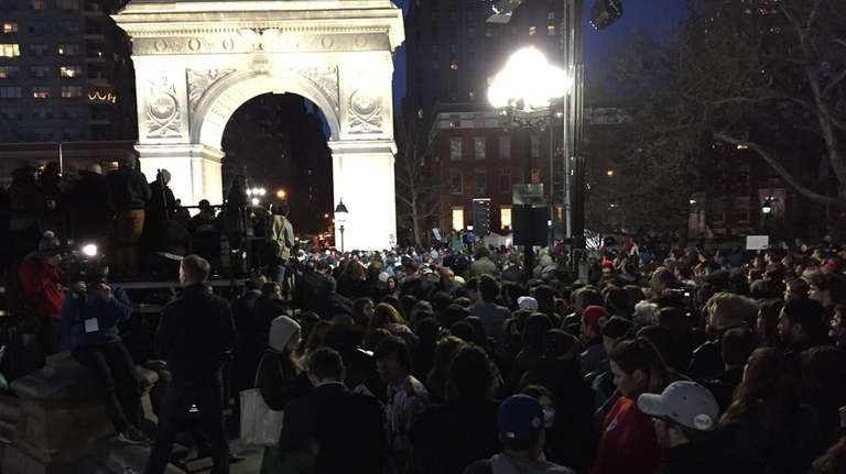 The Bernie Sanders rally in Washington Square