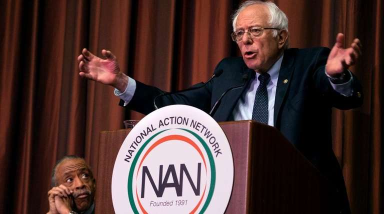 Democratic presidential candidate Bernie Sanders addresses the National