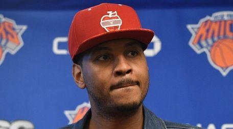 New York Knicks forward Carmelo Anthony speaks