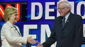Democratic presidential candidates Hillary Clinton and Bernie Sanders