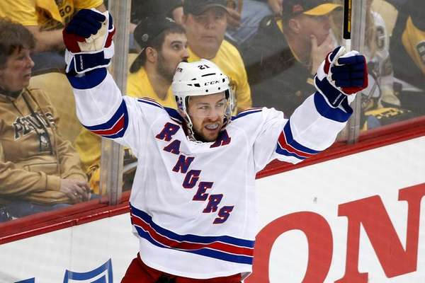 New York Rangers' Derek Stepan celebrates his