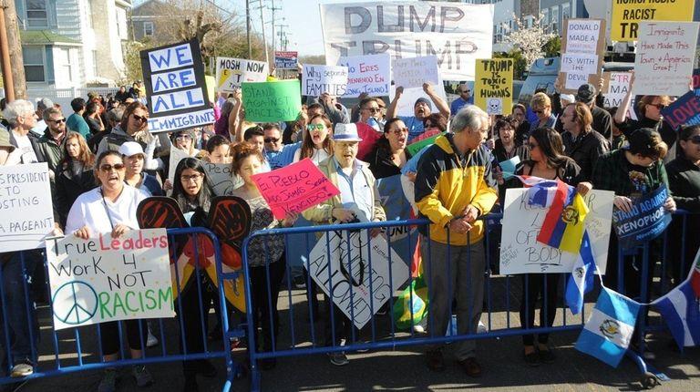 Anti-Trump protesters outside the area of the Emporium