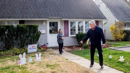 Republican State Senate candidate Chris McGrath canvasses door-to-door