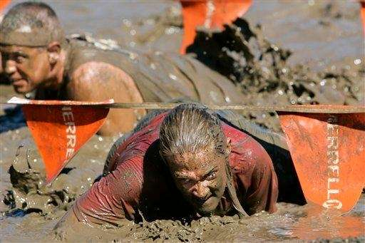 If slogging through an obstacle course (averaging 10