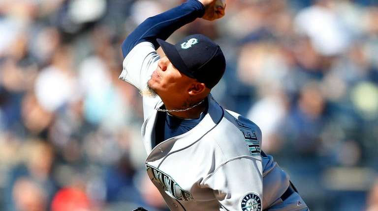 Felix Hernandez of the Seattle Mariners pitches in