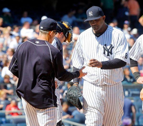 CC Sabathia of the New York Yankees hands