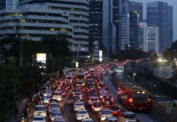 A general view of heavy traffic on a