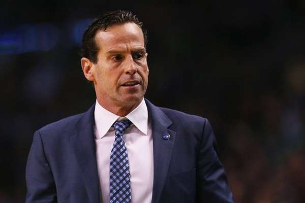 Atlanta Hawks assistant coach Kenny Atkinson looks