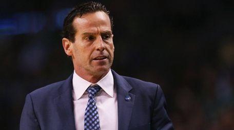 Atlanta Hawks assistant coach Kenny Atkinson looks