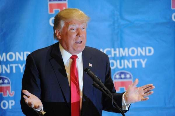 Republican presidential candidate Donald Trump attacks party bosses