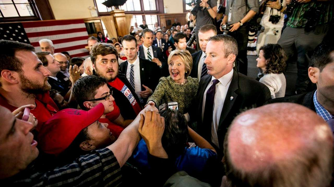 Democratic presidential candidate Hillary Clinton greets supporters Sunday,