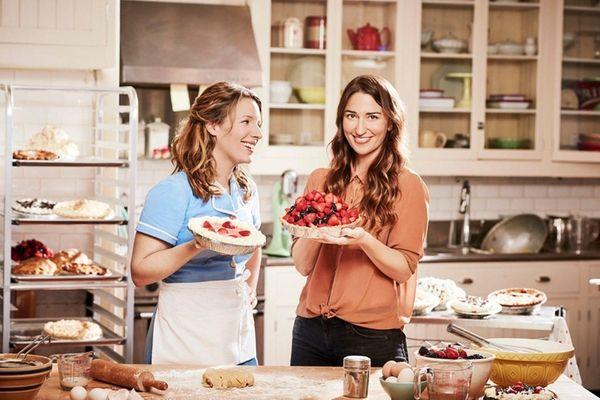 Jessie Mueller and Sara Bareilles on the set