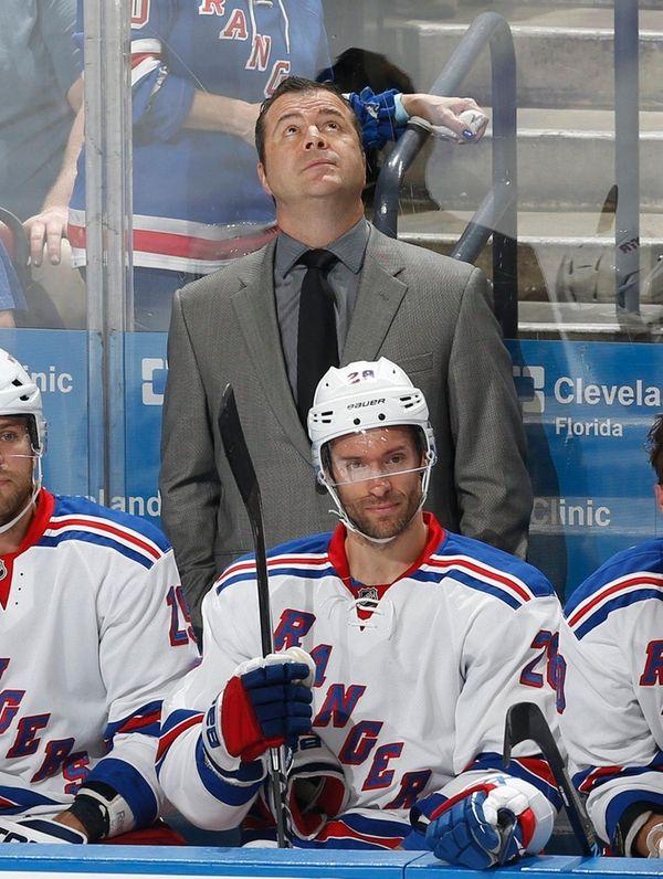 New York Rangers head coach Alain Vigneault watches