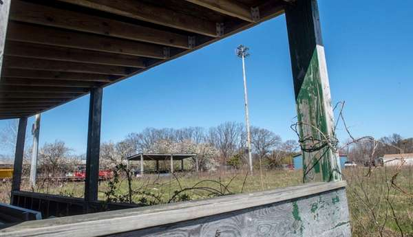 Remains of a dugout at the now-closed baseball